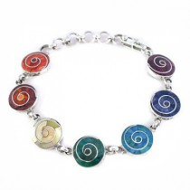 Pulsera de plata espirales arcoiris
