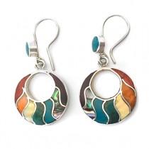 Rainbow hoop slver earrings