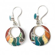 Rainbow hoop slver earrings