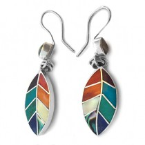 Rainbow leafs silver earrings
