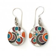 Inlaid silver earrings