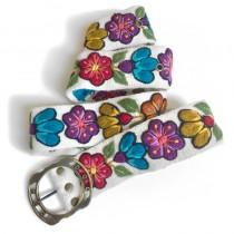 Cinturón bordado blanco flores