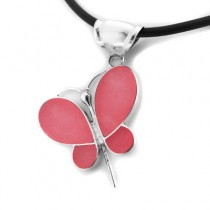 Pink quartz butterfly pendant
