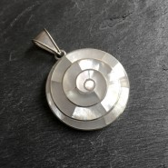 Mother of pearl spiral silver pendant