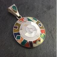 White Spiral calendar silver pendant
