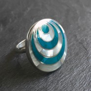 Water eye silver ring