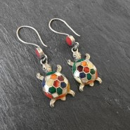 Rainbow turtle silver earrings