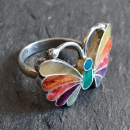 Fire butterfly silver ring