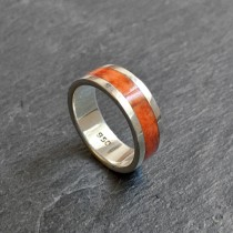 Inca orange silver ring