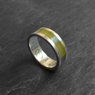 Inca serpentine silver ring