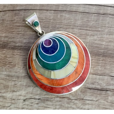 Colgante de plata Pachamama arcoiris