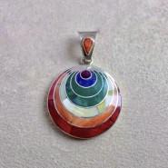 Rainbow Pachamama silver pendant