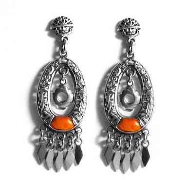 Orange silver chakana earrings
