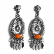 Orange silver chakana earrings