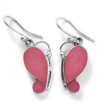 Pink quartz butterfly earrings