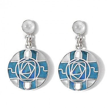 Turquoise spiral silver earrings