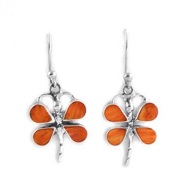 Orange dragonfly silver earrings