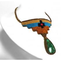 Collar macramé cruz turquesa
