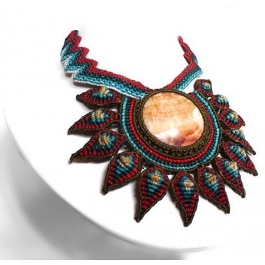 Onyx flower macrame necklace