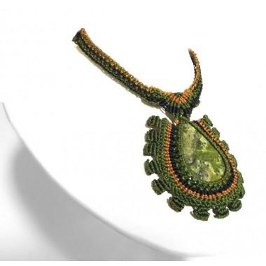 Serpentine Inca macrame necklace