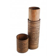 Hand carved bamboo container Timor