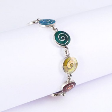 Rainbow spirals silver bracelet