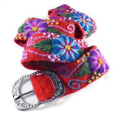Ayacucho red embroidered belt