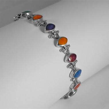 Rainbow beads silver bracelet