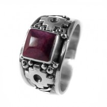 Purple chakana silver ring
