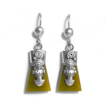 Serpentine Tumi silver earrings