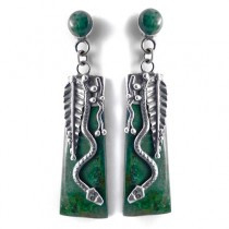 Pendientes serpiente turquesa verde