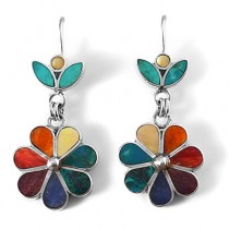 Rainbow flower silver earrings