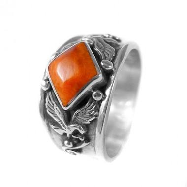 Orange condor silver ring