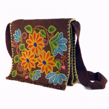 Brown Ayacucho embroidered bag