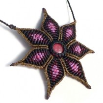 Macrame purple flower necklace