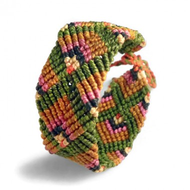 Green & orange macrame bracelet