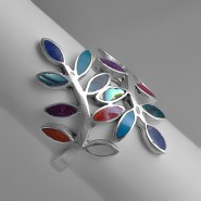 Colorful leafs silver ring