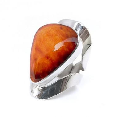 Orange spondylus silver ring
