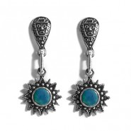 Turquoise Sun silver earrings