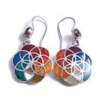Rainbow flower of life silver earrings