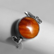 Orange & avalon reversible silver ring