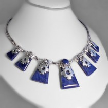 Sodalite chakanas silver necklace
