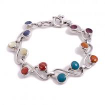Rainbow drops silver bracelet