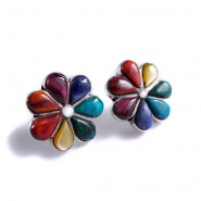 Pendientes flor arcoiris pegados