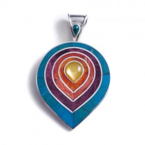 Rainbow lotus pendant