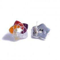Venus flower silver stud earrings