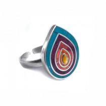 Rainbow lotus silver ring