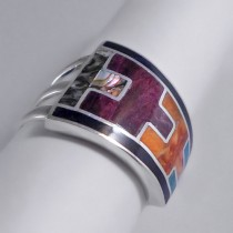 Asymmetric Inca silver ring