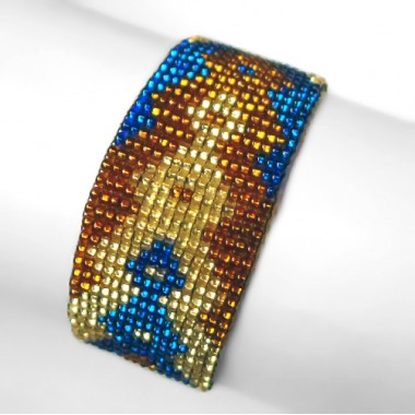 Shipibo bracelet in gold and blue