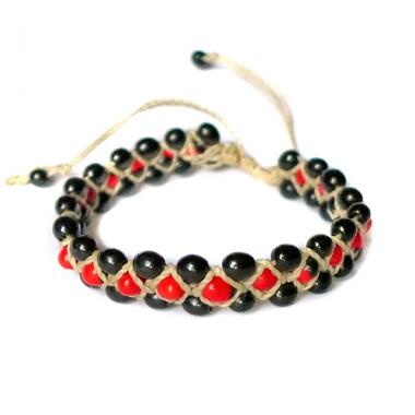 Huayruro and achira macrame bracelet